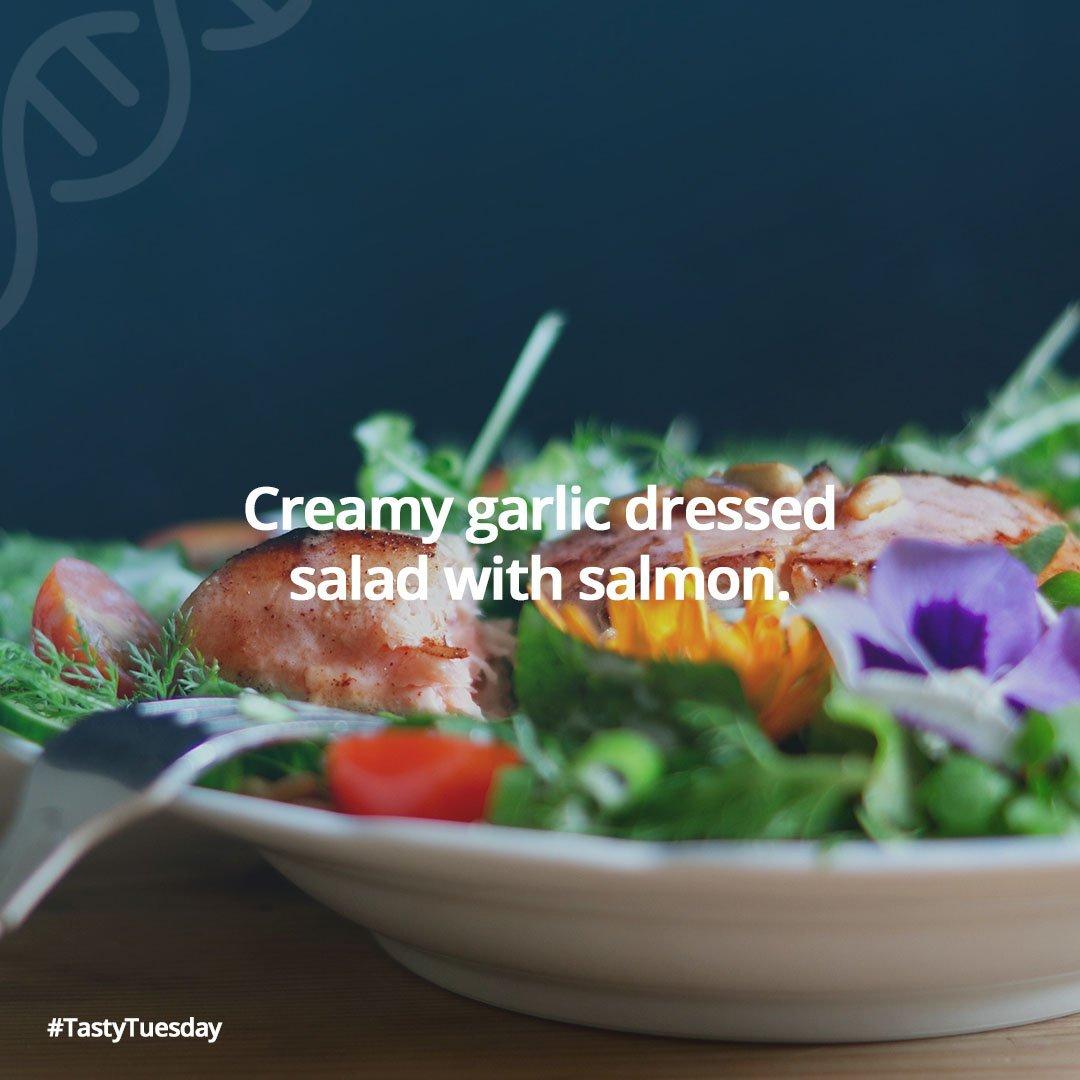 Memo_Creamy garlic dressed salad with salmon recipe